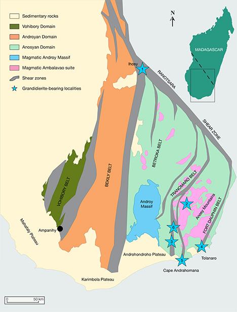 Map of Madagascar grandidierite deposits