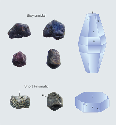 Bipyramidal and prismatic sapphire crystals from Sutara, Russia