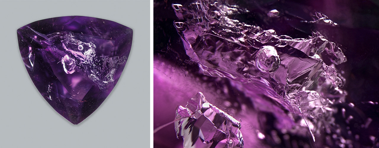 Amethyst with a large aqueous primary fluid inclusion