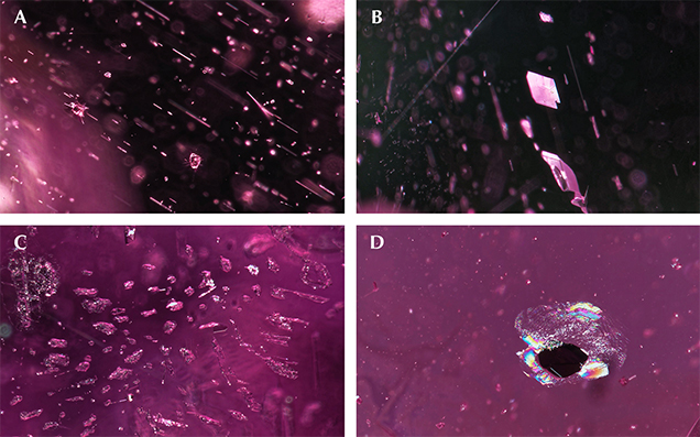 Internal features of purple pyrope-almandine garnet from Manica Province, Mozambique