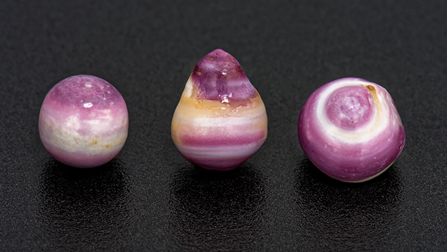 Purple and white non-nacreous pearls