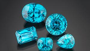 Faceted blue zircons