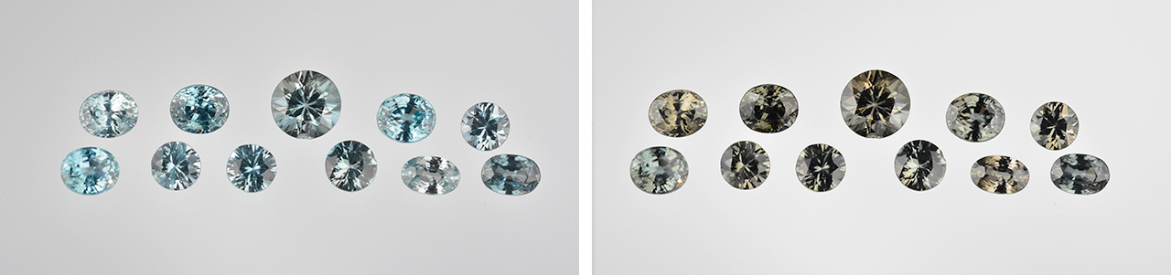 Faceted blue zircons before and after long-wave UV exposure