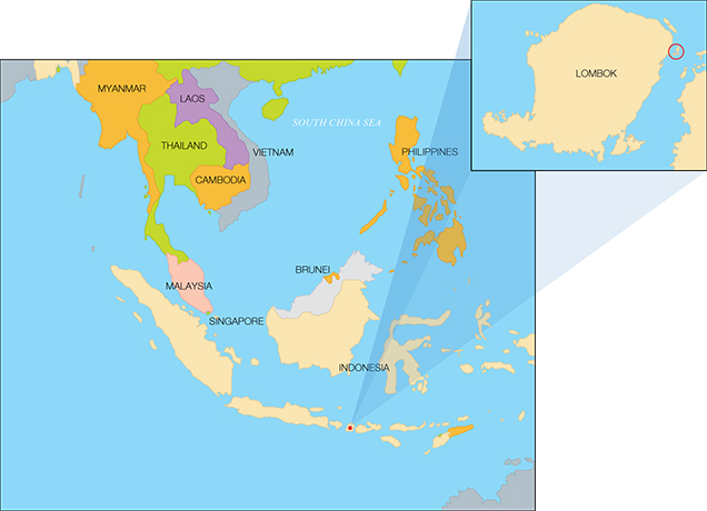 Map of Indonesia and Lombok (inset)