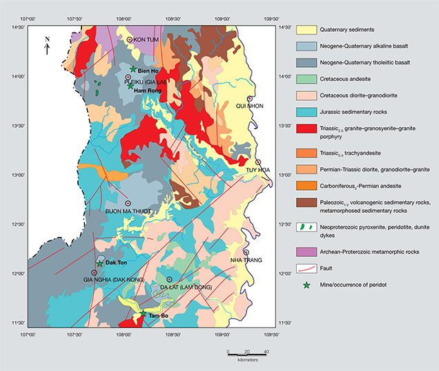 Geological map of peridot deposits in south-central Vietnam