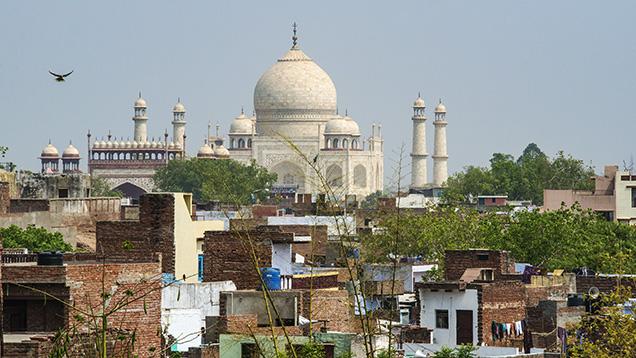 The Taj Mahal and the city of Agra