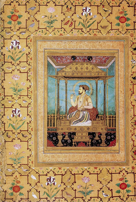 Painting of Shah Jahan on the Peacock Throne