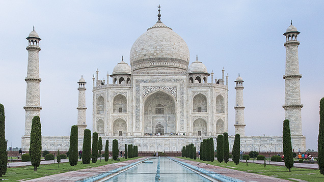 Tranquil reflecting pools of the Taj Mahal