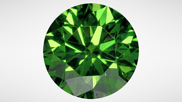 Green diamond, color-treated by multi-step process