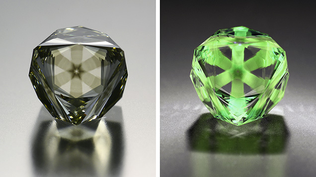 Side-by-side images of a Fancy brownish greenish yellow diamond. Left is normal light and right is under long-wave UV light.