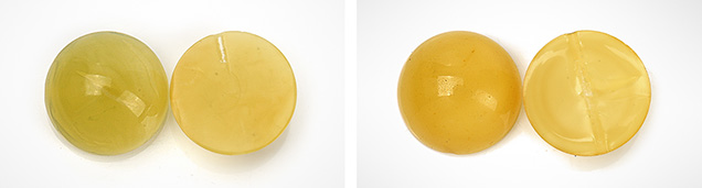 "Hydrothermally treated and ""roasted"" hydrothermally treated amber beads"