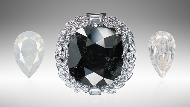 The Black Orlov and two Fancy white diamonds