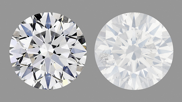 Comparison of a colorless diamond and a Fancy white diamond