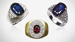 Bo Welu ruby and sapphires set in rings
