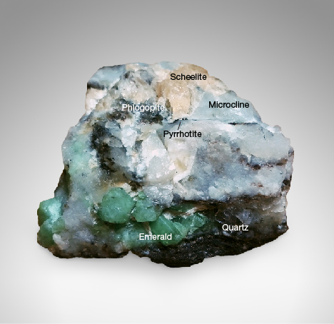 Emerald-in-matrix hand specimen from Malipo, China