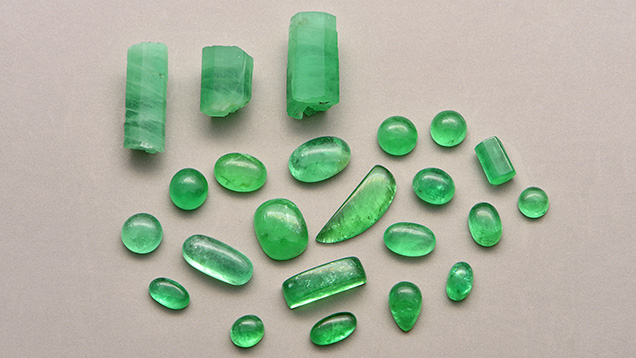 Gem-quality rough and polished emeralds from Malipo, China