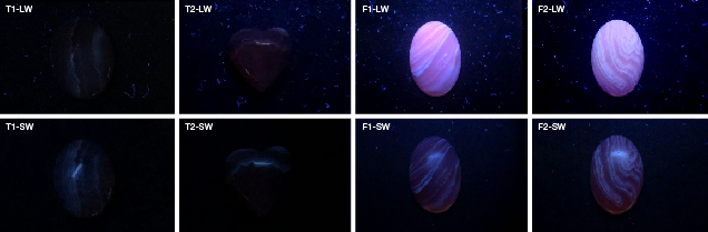 Natural and imitation rhodochrosite reaction to UV light
