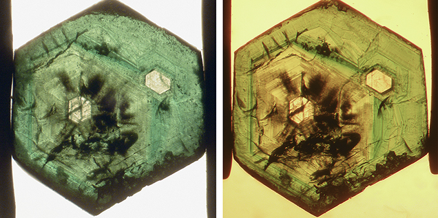 An emerald from Swat Valley shows an interesting growth pattern with two colorless cores.