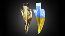 Interesting fluorescence pattern of the sword-shaped diamond.