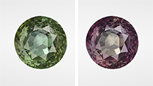 Change of color observed in an alexandrite.