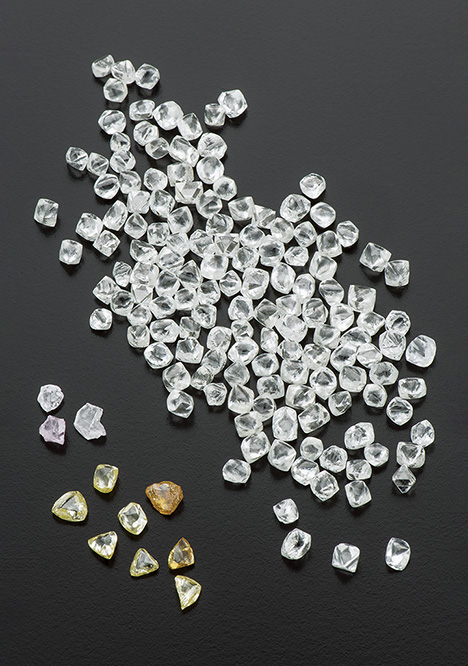 Group of colorless diamonds
