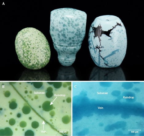 """Examples of """"raindrop"""" turquoise from Hubei Province"""