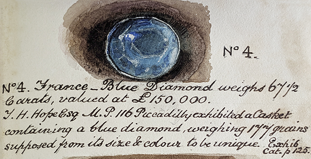 Drawing of glass model of the French Blue diamond
