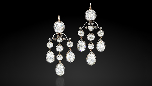 Diamond earrings from the first half of the nineteenth century.