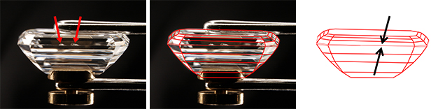 An emerald cut with a thin girdle and two chips