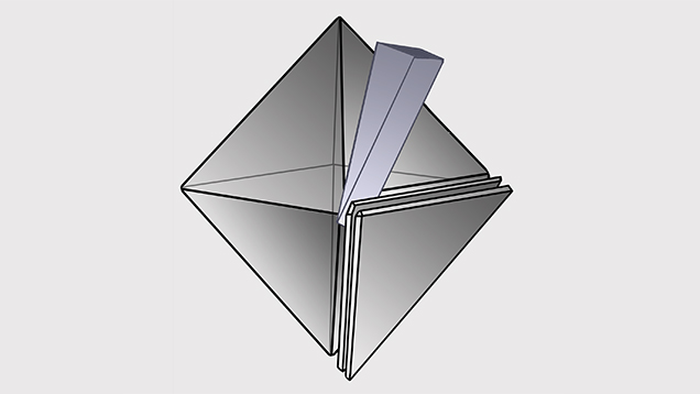Cleavage planes lay parallel to triangular octahedral face