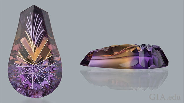 Ametrine Top and Side View Cut
