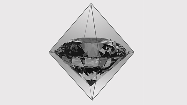 A round brilliant diamond in an octahedral crystal