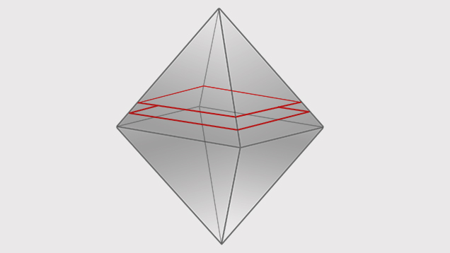 An octahedral crystal illustrating a lower plane and higher plane