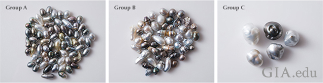 Three groups of pearls
