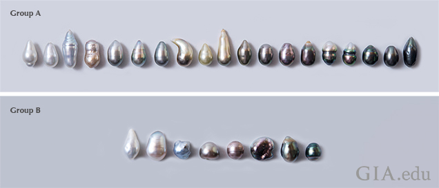 The 27 pearls selected for spectral work