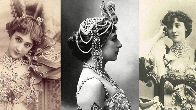 3 vintage photographs of French courtesans wearing elaborate jewelry