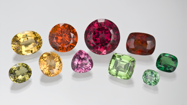A collection of different colored garnets