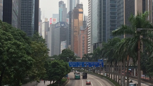 A view of downtown Hong Kong – with a freeway traveling through it.