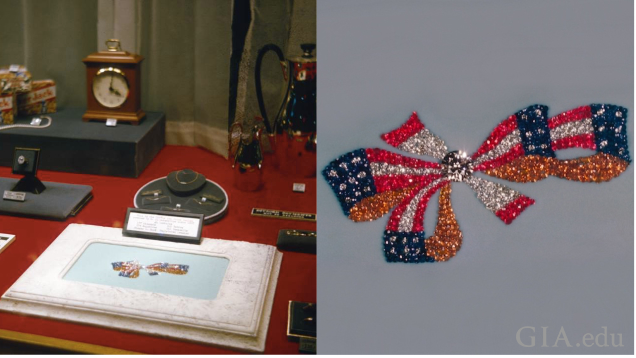A view of one of Hohenstine's window displays and a close-up of the red, white and blue bow gem design.