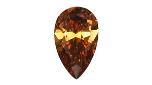 This 1.49 ct pear-shaped brilliant was graded Fancy Deep brown orange.