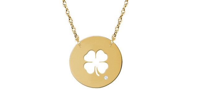14K gold four-leaf clover necklace