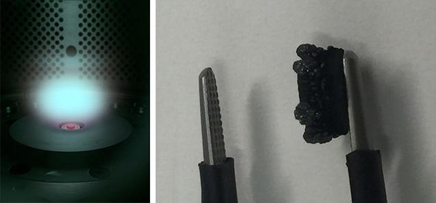 真空チャンバー内の合成ダイヤモンドの結晶