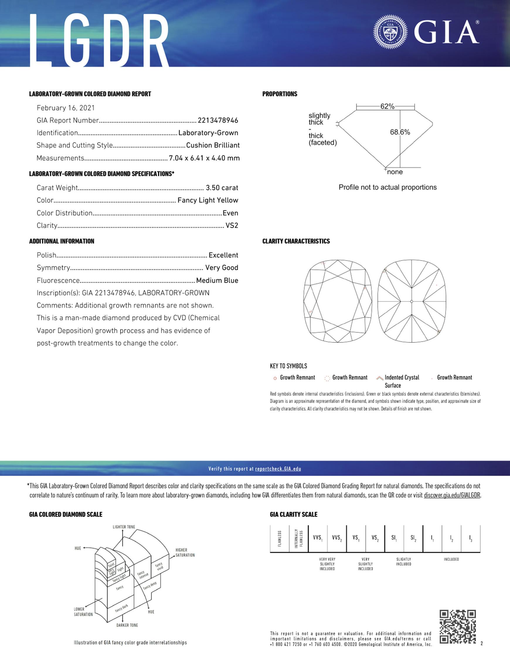 Sample Laboratory Grown Colored Diamond Report