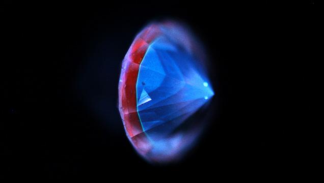 DiamondView image of a hybrid natural and CVD-grown diamond