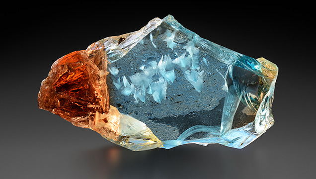 Bicolor topaz with white fluorite inclusions from Ukraine
