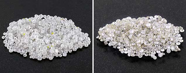 HPHT synthetic diamond melee grown in China