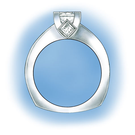 Side view of platinum solitaire. Design features a princess cut center stone set in v-prongs, two princess cut, bezel-set side stones in the gallery, and princess cut, channel-set stones down each side of the shank.