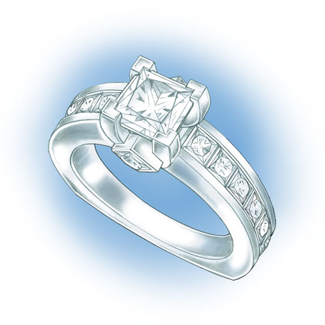Perspective view of platinum solitaire. Design features a princess cut center stone set in v-prongs, two princess cut, bezel-set side stones in the gallery, and princess cut, channel-set stones down each side of the shank.