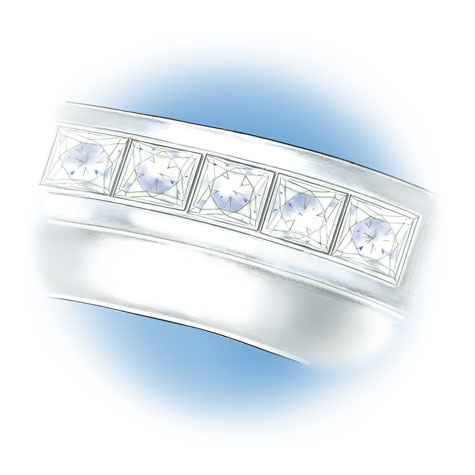 Close-up view of five princess cut, channel-set stones located in the shank of the platinum solitaire.