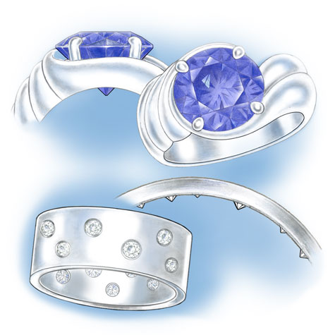 Two platinum ring examples showing exposed culets